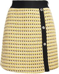 Maje Jisidore Metallic Cotton-blend Tweed Mini Skirt Yellow