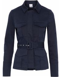 Iris & Ink Woman Sade Belted Cotton-blend Gabardine Jacket Storm Blue