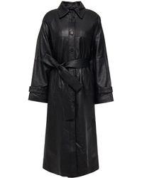 REMAIN Birger Christensen Romy Belted Leather Coat - Black