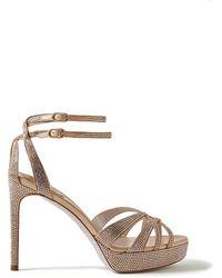 Rene Caovilla Dania Crystal-embellished Satin Platform Sandals - Natural