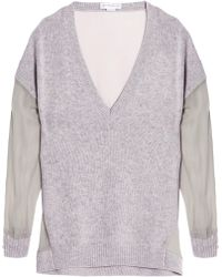 Amanda Wakeley | Paneled Georgette And Mélange Cashmere Sweater | Lyst