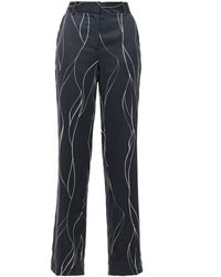Equipment Printed Washed Silk-blend Straight-leg Trousers Midnight Blue