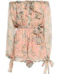 Zimmermann Off-the-shoulder Floral-print Silk-georgette Playsuit Peach - Multicolour