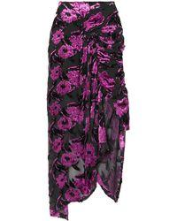 Preen By Thornton Bregazzi Clementine Ruched Devoré-chiffon Midi Skirt Violet - Purple