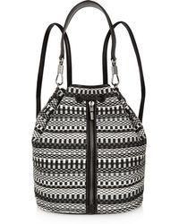 Elizabeth and James - - Cynnie Sling Convertible Leather-trimmed Jacquard Backpack - Charcoal - Lyst