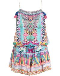 Camilla Masking Madness Embellished Printed Silk Playsuit Multicolour - Blue