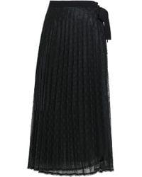 Sandro Pleated Crochet-knit Wrap Midi Skirt Black
