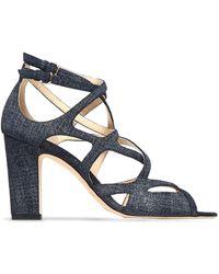 Jimmy Choo Dillan 85 Cutout Denim Sandals Mid Denim - Blue