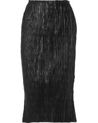 Edun - - Plissé-leather Skirt - Black - Lyst
