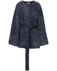 See By Chloé See By Chloé Belted Ribbed-knit Cardigan Navy - Blue