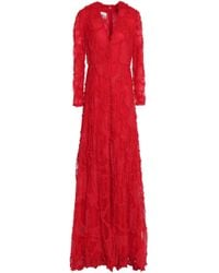 Valentino - Ruffle-trimmed Fluted Lace And Point D'esprit Gown - Lyst