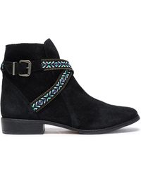 Schutz - Embroidered Suede Ankle Boots - Lyst