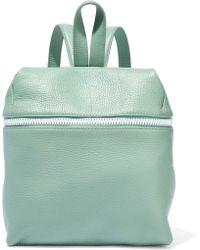Kara Small Pebbled-leather Backpack Grey Green