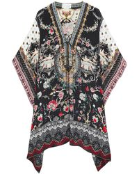 Camilla Lace-up Crystal-embellished Printed Silk Crepe De Chine Coverup Black
