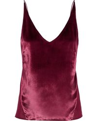 J Brand Lucy velvet-paneled crepe de chine camisole - Mehrfarbig