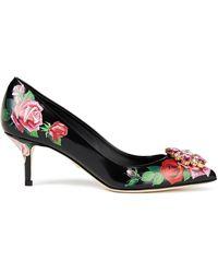 Dolce & Gabbana Floral Embellished Court Shoes - Black