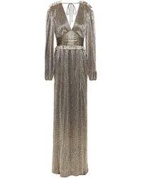 Rebecca Vallance Gathered Lamé Gown Gold - Metallic