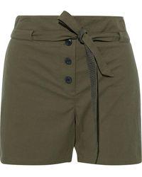 Rag & Bone - Camille Belted Cotton-blend Seersucker Shorts Army Green - Lyst