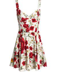 Dolce & Gabbana - Pleated Floral-print Cotton-blend Bouclé Mini Dress - Lyst