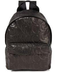 McQ Logo-embossed Leather Backpack - Black