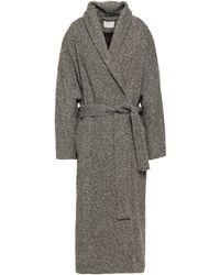 House of Dagmar Belted Wool-blend Tweed Coat Black