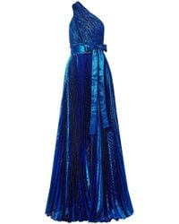 Elie Saab One-shoulder Plissé Silk-blend Lamé Gown Bright Blue