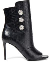 Balmain Anke boots aus leder mit logoprägung und zierknöpfen - Schwarz