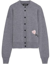 Markus Lupfer May Sequin-embellished Merino Wool Cardigan - Grey