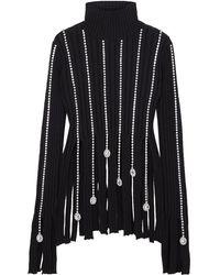 Area Crystal-embellished Ribbed Cotton-blend Turtleneck Jumper - Black