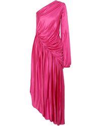Halpern Asymmetric Gathered Dress - Pink