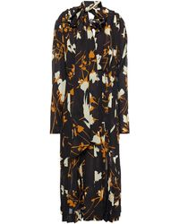 Victoria Beckham - Pussy-bow Pleated Floral-print Georgette Midi Dress - Lyst