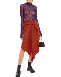 House of Holland Draped Prince Of Wales Checked Wool-blend Skirt - Orange