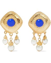 Ben-Amun 24-karat -plated, Faux Pearl And Stone Clip Earrings - Metallic