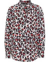 Boutique Moschino Pussy-bow Leopard-print Shell Blouse - White