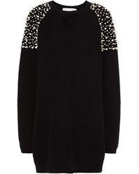 Michelle Mason Faux Pearl-embellished Ribbed Cotton Mini Dress - Black