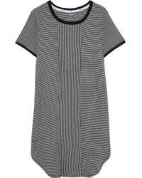 DKNY - Woman Striped Stretch-jersey Nightdress Black - Lyst