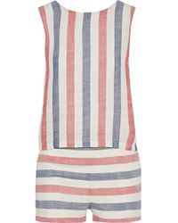 Solid & Striped - The Michy Tie-back Striped Cotton-blend Gauze Playsuit - Lyst