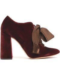 Chloé - Lace-up Velvet Court Shoes - Lyst