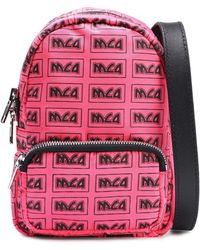 McQ Leather-trimmed Monogram-print Neon Shell Shoulder Bag Bright Pink