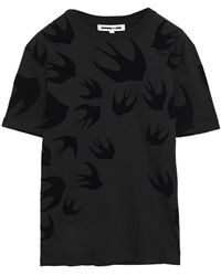 McQ - Flocked Cotton-jersey T-shirt - Lyst
