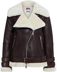 Walter Baker Whitney Faux Fur-trimmed Leather Biker Jacket Dark Brown