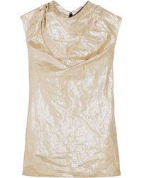 Rick Owens Draped Crinkled Cotton-blend Lamé Top Platinum - Multicolour