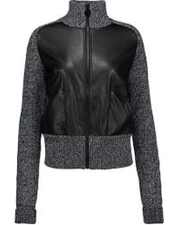 Carven - Faux Leather-paneled Marled Ribbed Wool Jacket - Lyst