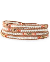 Chan Luu 18-karat Gold-plated, Leather, Pearl And Stone Bracelet Light Brown