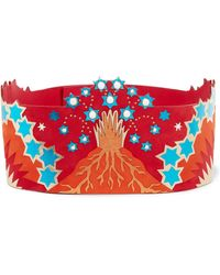 Valentino - Embellished Metallic Leather And Suede Waist Belt - Lyst