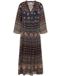 Velvet By Graham & Spencer Monaco Gathered Printed Chiffon Midi Dress - Blue