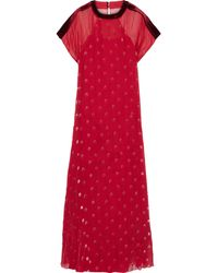 Valentino Quilted Velvet-trimmed Flocked Silk-chiffon Gown Tomato Red
