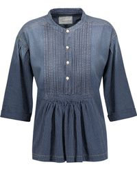 Current/Elliott - The Pintuck Striped Denim Shirt - Lyst