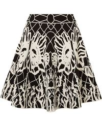 Alexander McQueen Flared Jacquard-knit Mini Skirt Black