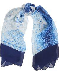 Halston - Printed Silk-Chiffon Scarf - Lyst